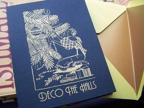 Deco the Halls Screen Printed Holiday Card Black Gold - greenporchlights
