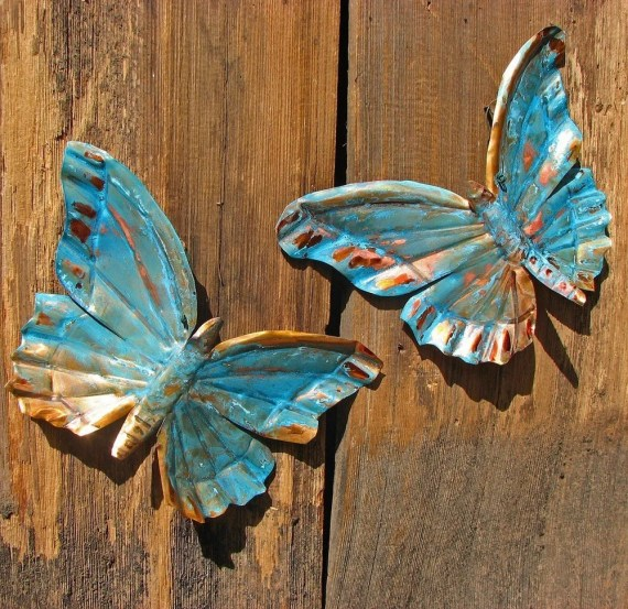 CUSTOM for you - copper butterfly pair by Mark - with green or blue patina - OOAK - natureartstudio