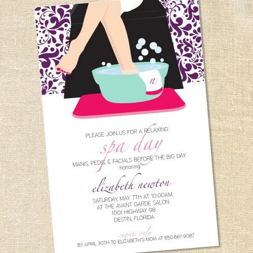 Sweet Wishes Spa Day Pedicure Party Invitations PRINTED
