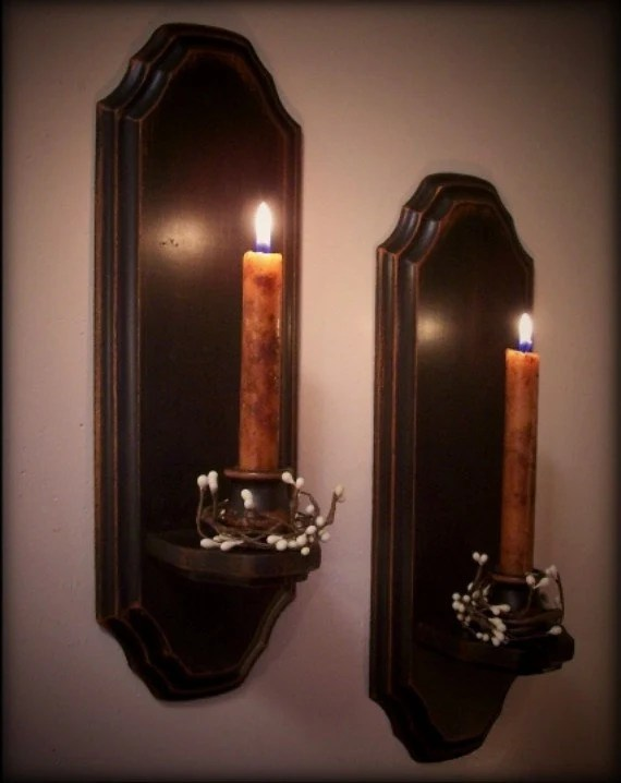 Vintage Colonial Candle Sconce Pair Wooden Wall Decor Candles on Wood Wall Sconces id=75849