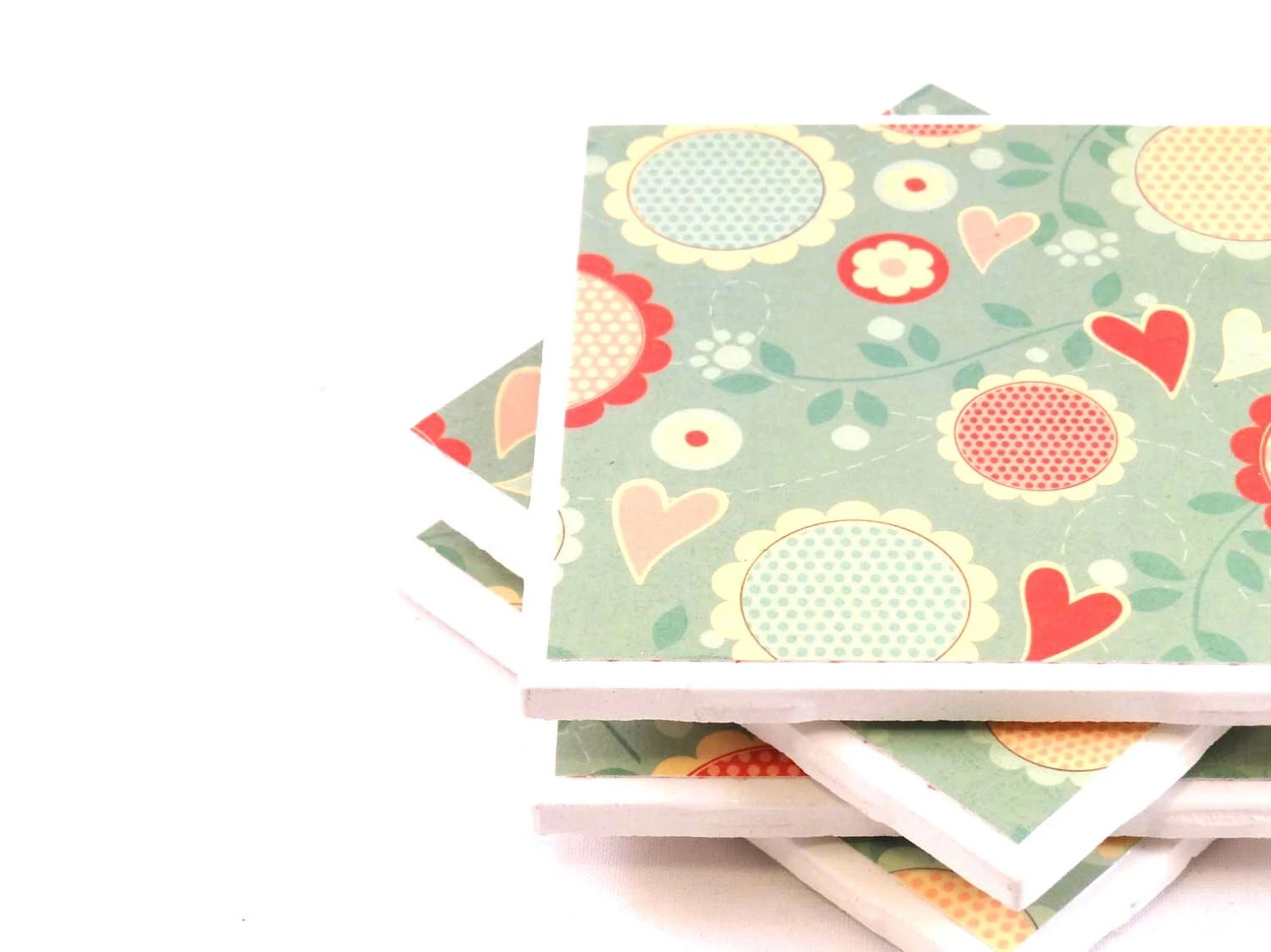 Tile Coasters -  Mint and Peach Flowers - Set of 4 Coasters - littlecoastergnome