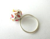 Flower ring filled with silk Sterling silver ring February trends - CyKLu