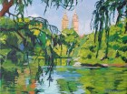 NYC Art Wall Decor Central Park Landscape Fine Art Print 8x10, New York City green Painting by Gwen Meyerson