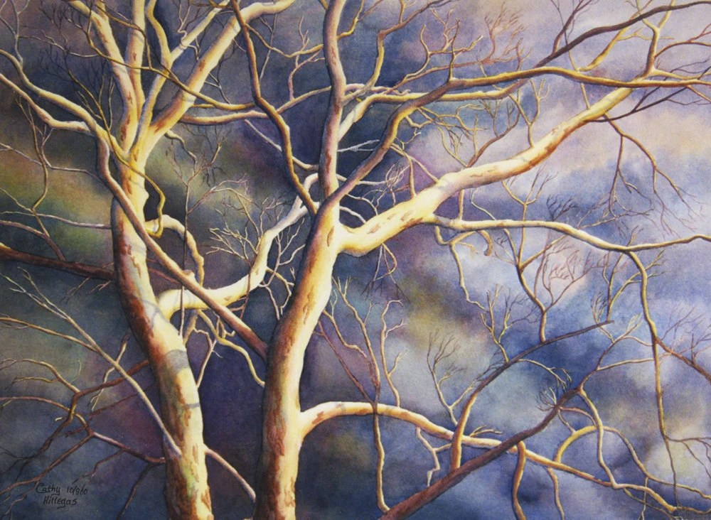 Sycamore tree, stormy sky watercolor print of original painting by Cathy Hillegas - CathyHillegas