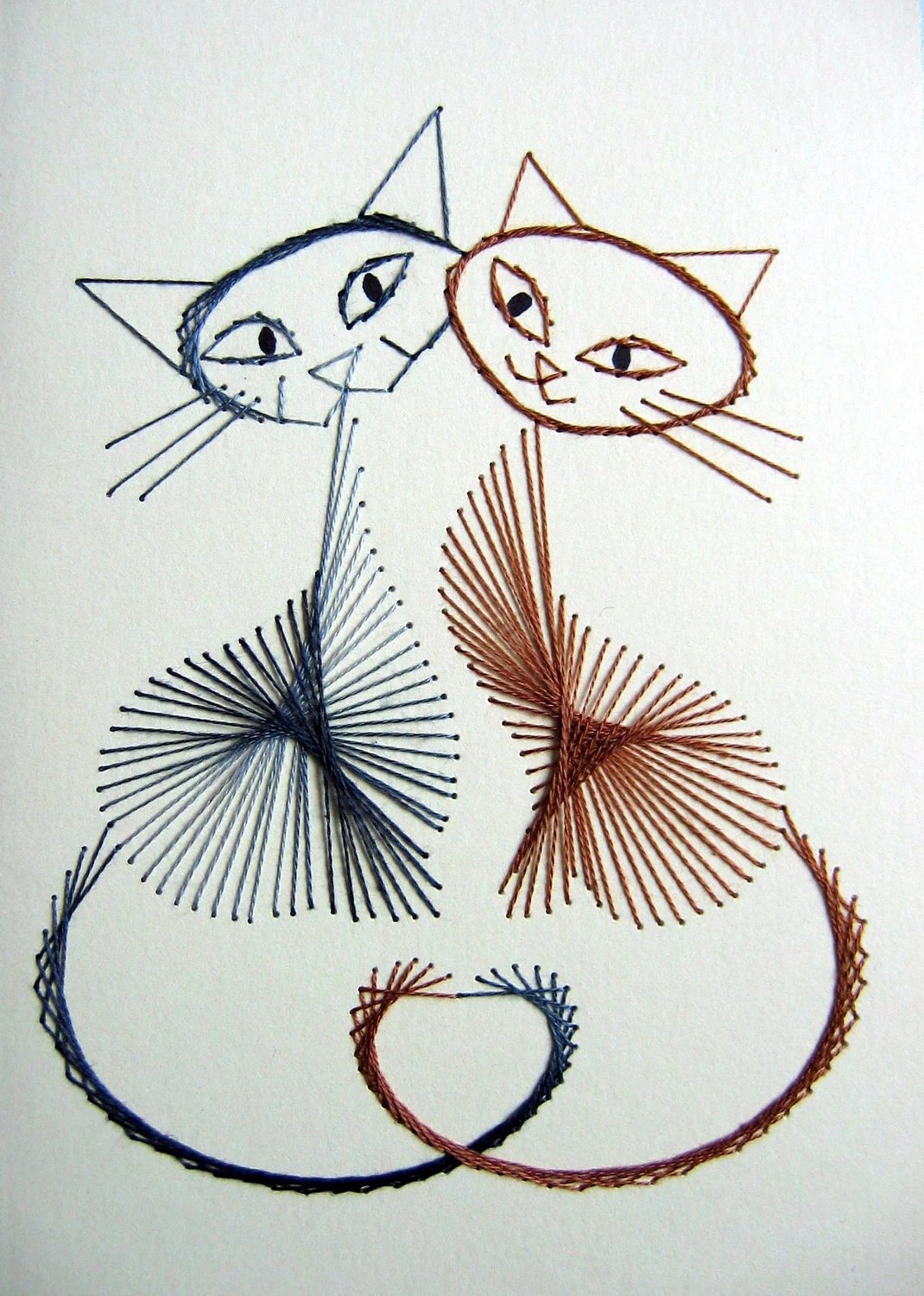 Playful Cats Set Of 3 Hand Stitched Greetings Cards