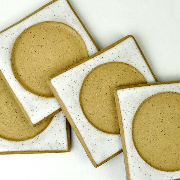 White Love Ceramic Drink Coasters Set of 4 handmade