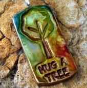 Polymer Clay Hug a Tree Pendant - Earth Day - purplecactusstudios