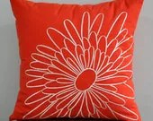 Orange Magnolia Pillow Cover, Decorative Pillow Cover, Beige Flower on Red Orange Linen, Throw Pillow Cover, Orange cushion cover - KainKain
