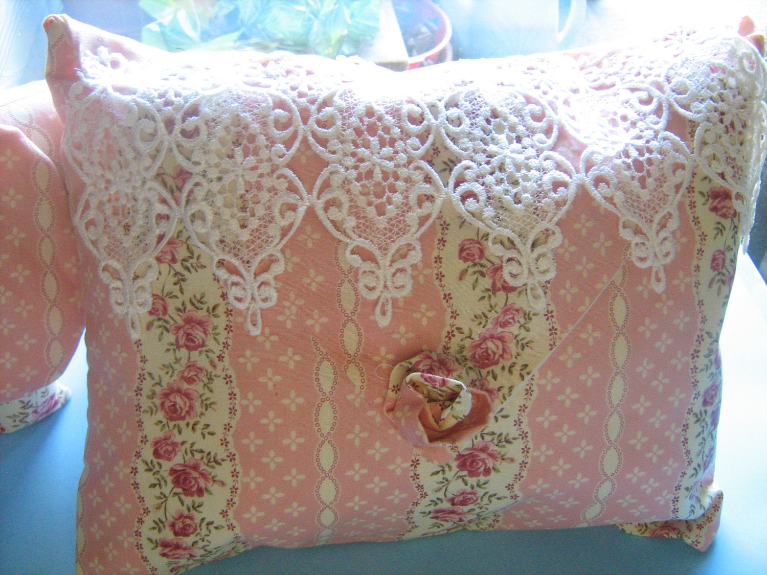 Pink Beige Lace Decorative Pillow Shabby Chic Style Victorian