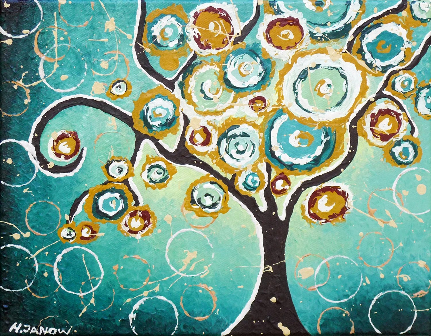 Tree Original Painting Swirling Turquoise Teal Wall Art