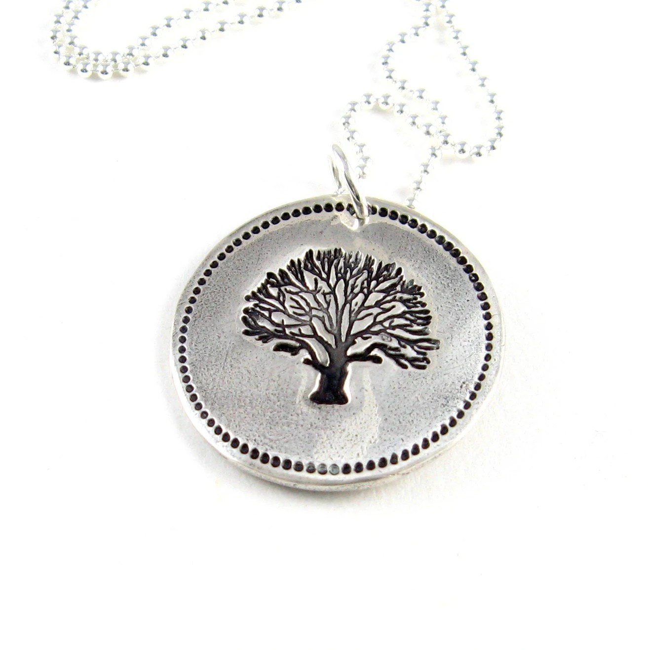 Tree of Life Necklace Fine Silver PMC Artisan Pendant Hand Stamped Tree of Life Under 75 - newhopebeading