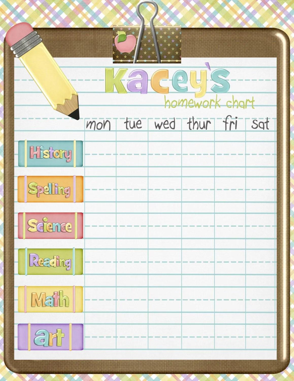 Custom Homework Chart
