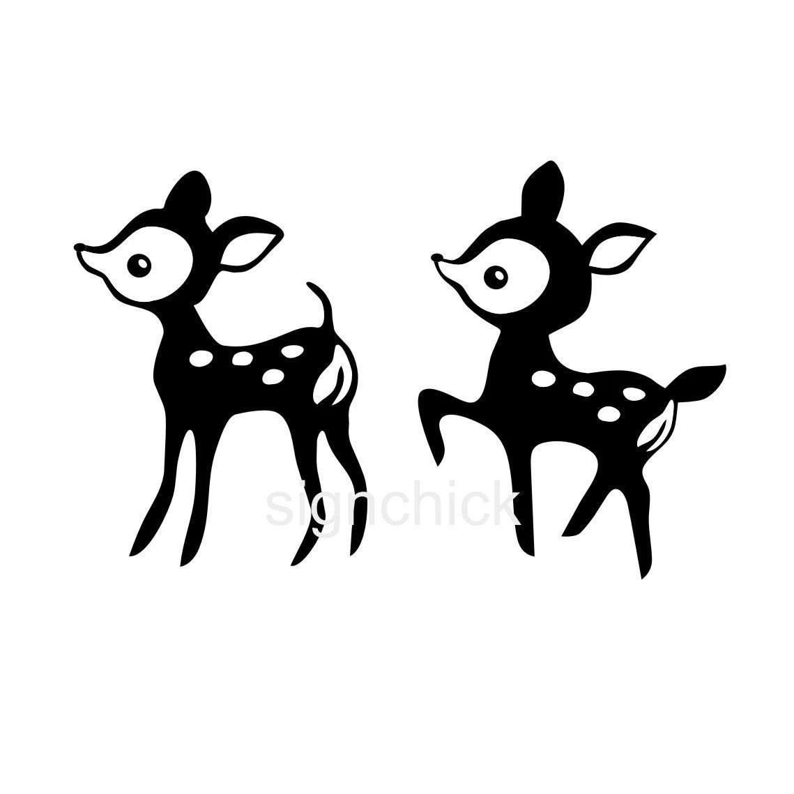 Baby Deer Wall Decals Set Of 2 Deer Vinyl Wall Art