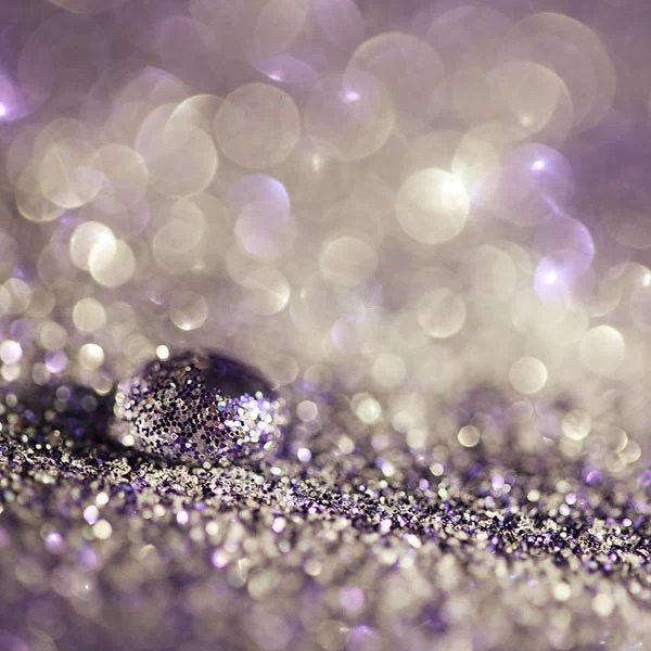 Purple Glitter Decor Photograph pastel lilac lavender white silver black sparkle light purple circles dark bokeh bright  abstract 8x8 - AmeliaKayPhotography