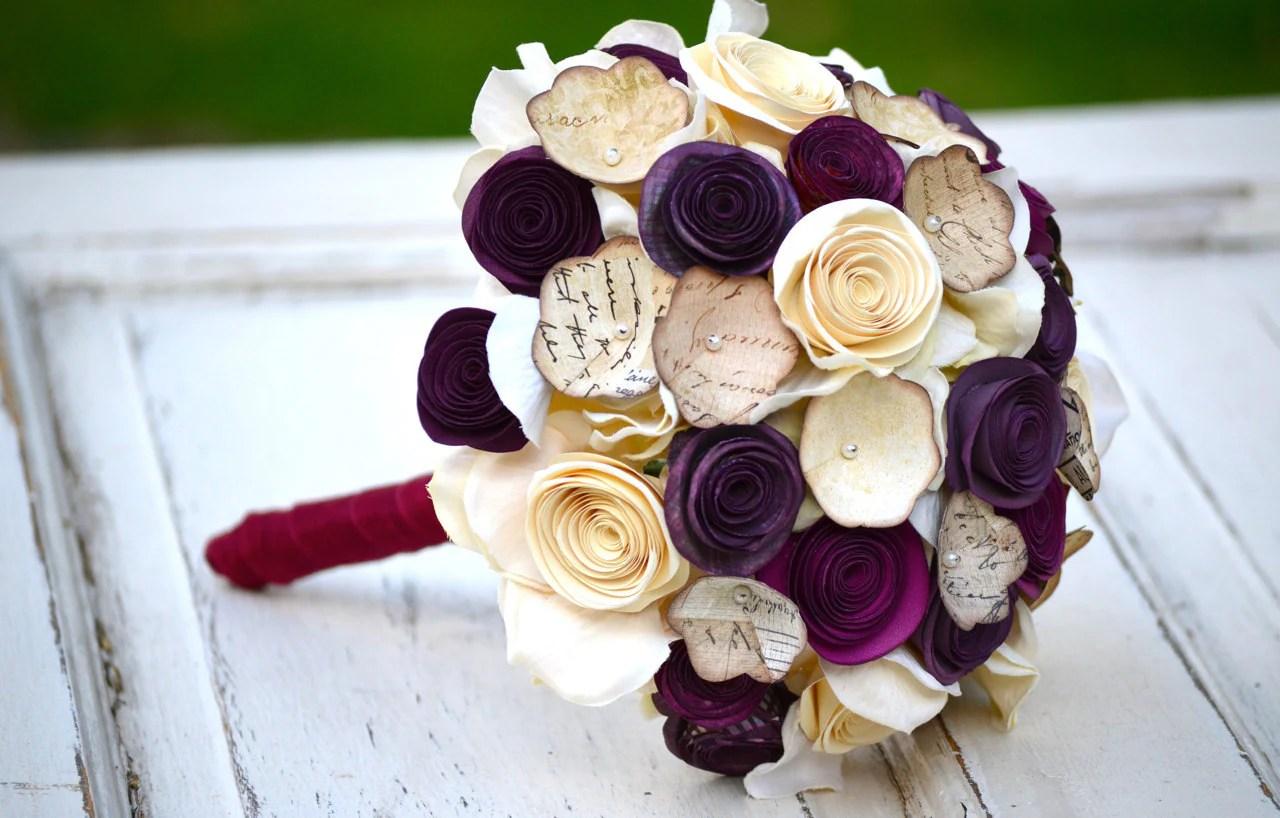 Paper Flower Bouquet Purple Plum Ivory Cream Wedding