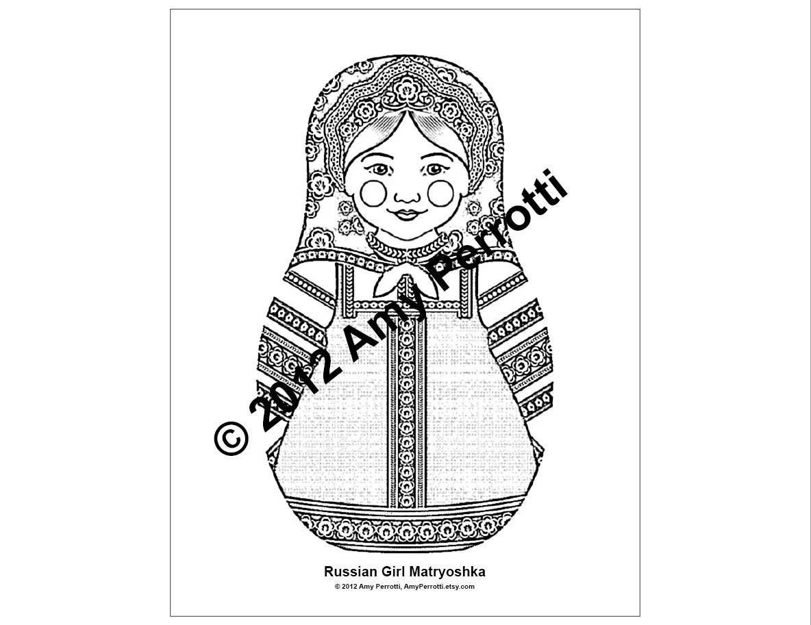 Russian Girl Matryoshka Coloring Sheet Printable File