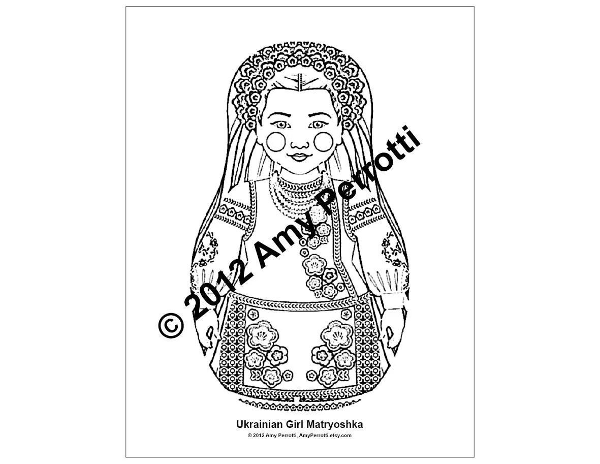 Ukrainian Girl Matryoshka Coloring Sheet Printable File