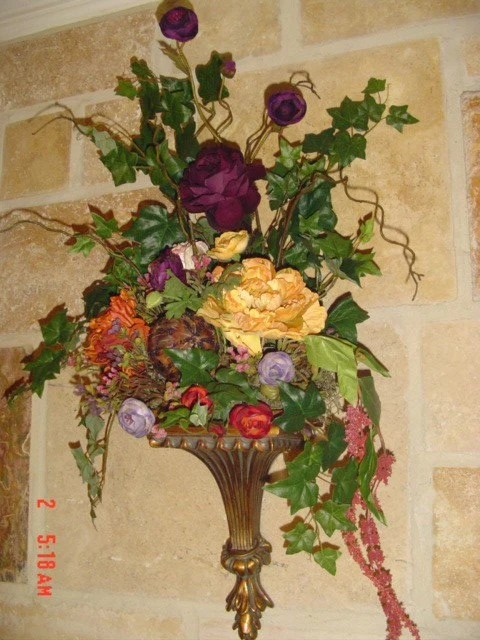 Wall Sconce Silk Floral Arrangement on Wall Sconce Floral Arrangements Arrangement id=65314