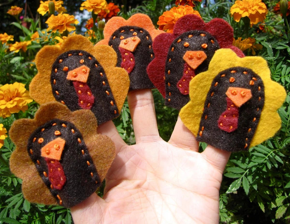 5 Little Turkeys Finger Puppets 5 Pieces And Activity Sheet