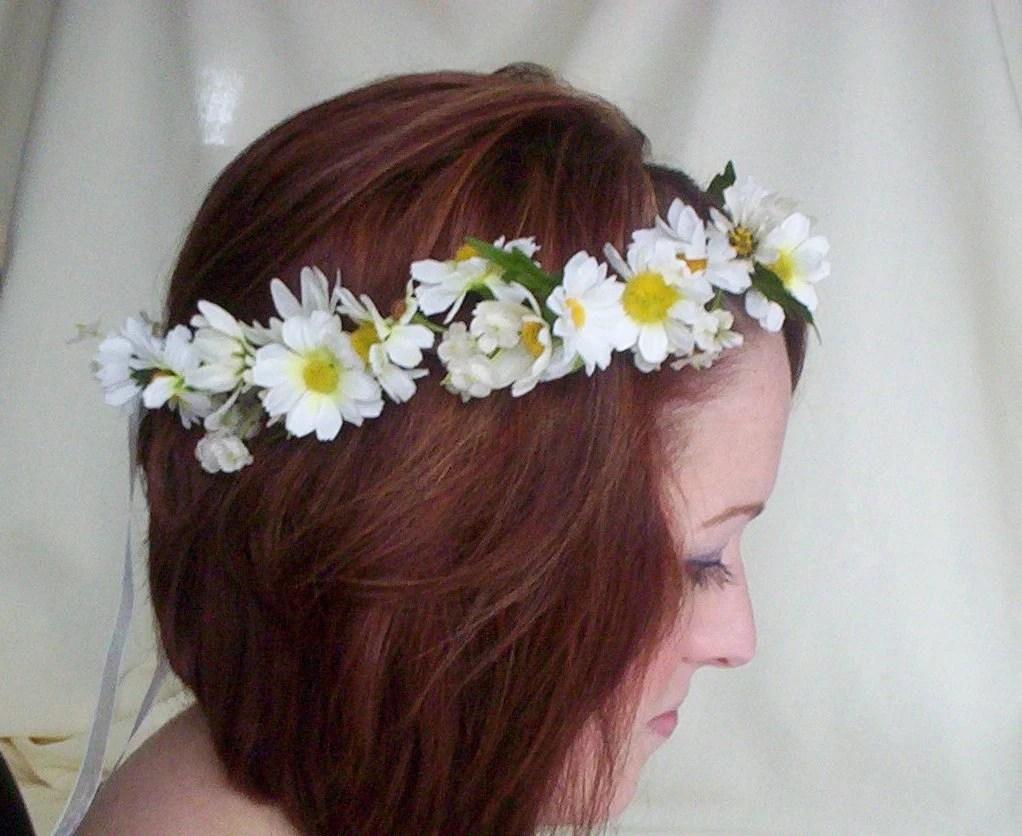 Bridal Floral Crown Daisy Hair Wreath-Stevie-Wedding