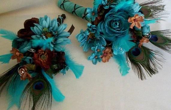 Peacock Turquoise Wedding Flower Package Brown Custom For