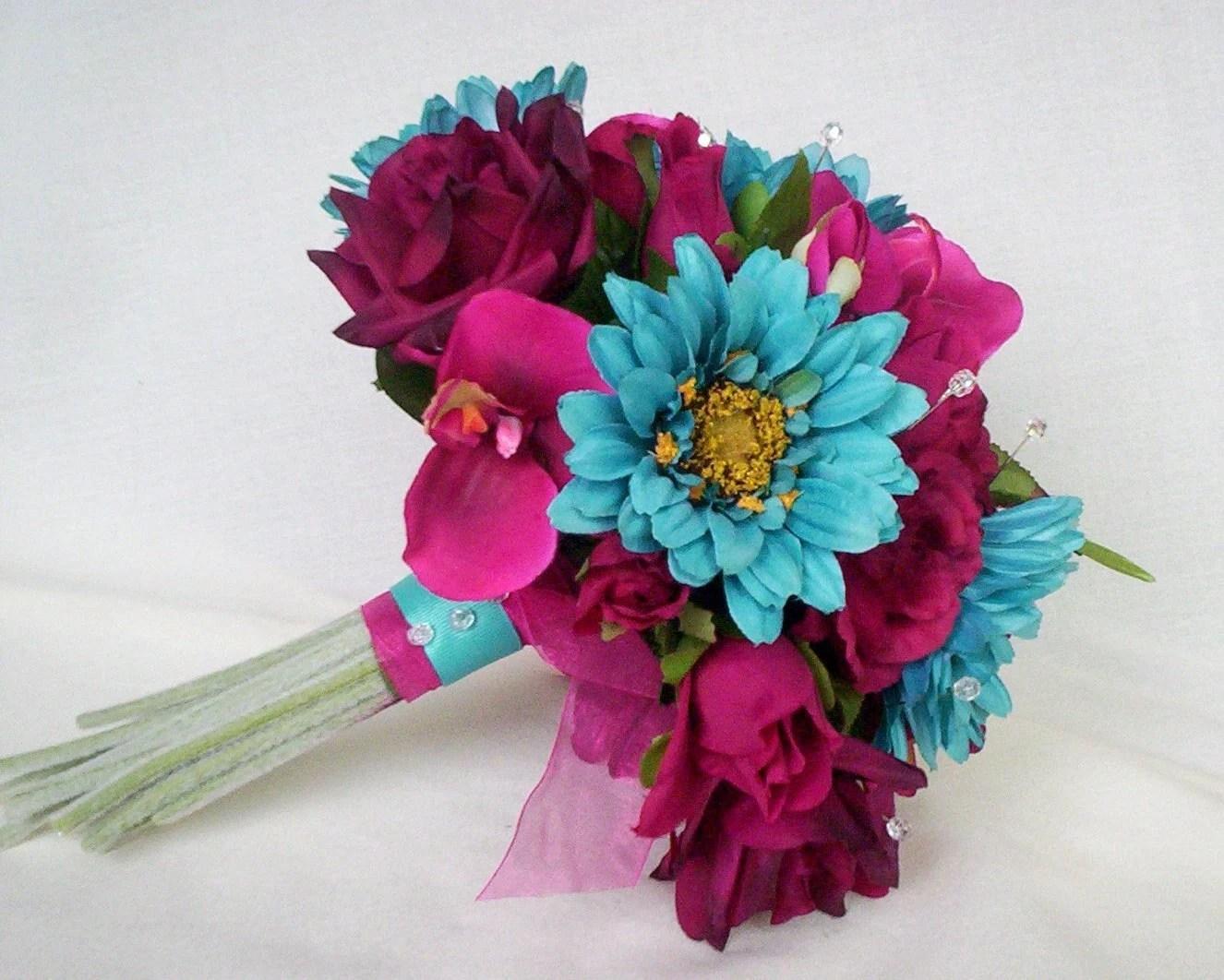 Turquoise Fuschia Wedding Flowers Custom Deposit For Julie