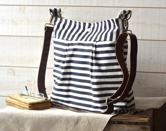 Waterproof BEST SELLER Diaper bag/Messenger bag STOCKHOLM Navy blue and white nautical stripe - 10 Pockets -Baby talk magazine featured
