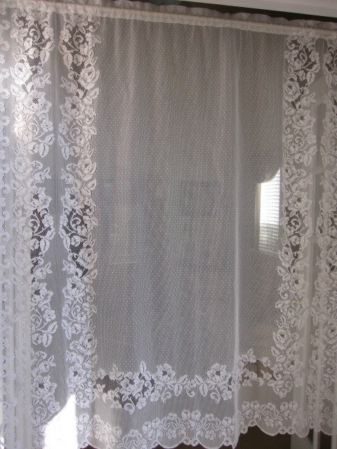 Vintage Lace Curtain White Baroque Floral Lace Curtain Swag