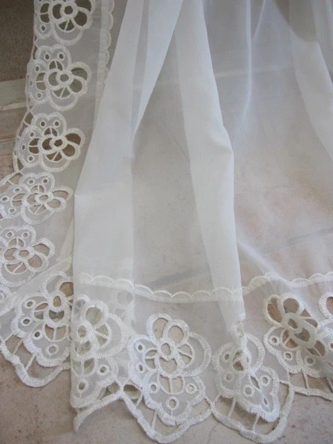 REDUCEDVintage Lace Curtain Sheer Macrame Lace Embroidered