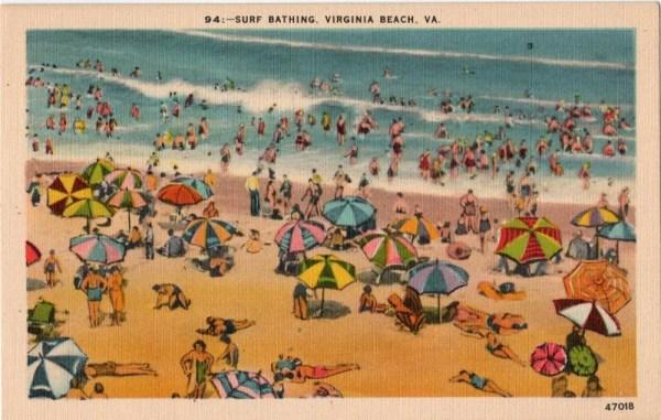 Vintage Virginia Postcard Surf Bathing Virginia Beach