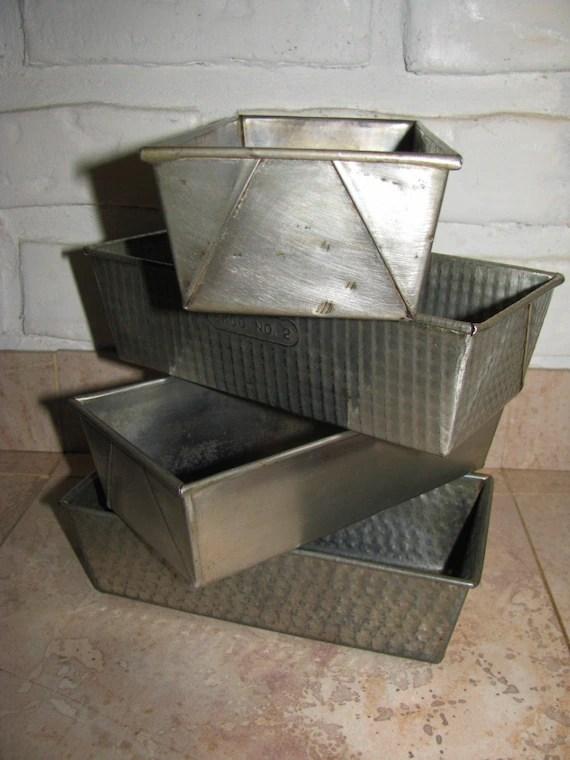 Vintage Metal Bread Pans Bake King Loaf Pan Tin Bread Pan
