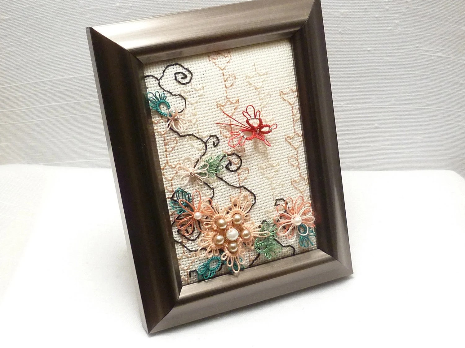Tatted Embroidered Fiber Art Butterfly Garden -Peach Tranquility