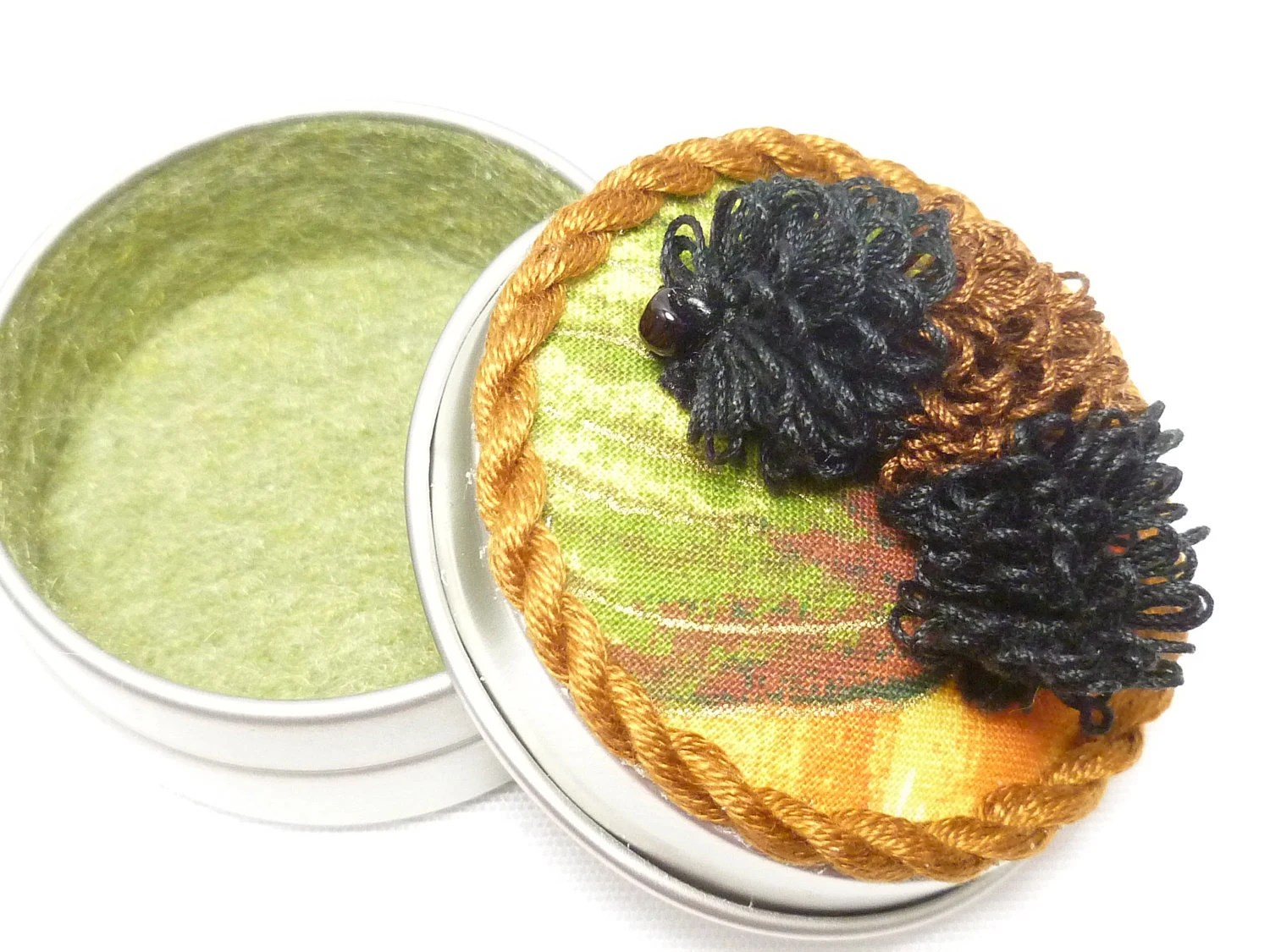Tatted Fiber Art Catterpillar Garden Small Box -Izzy the Wooly Bear Tatterpillar