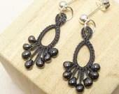 Earrings in Dark Gray Tatting -Flash Drips