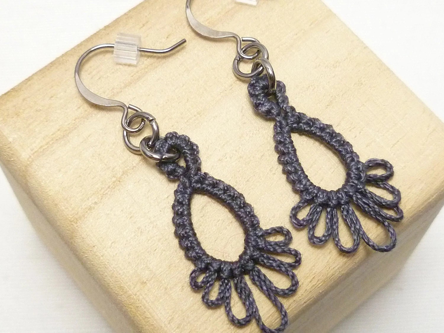 Tatted Lace Earrings in dark gray -Frilly Drips -MTO