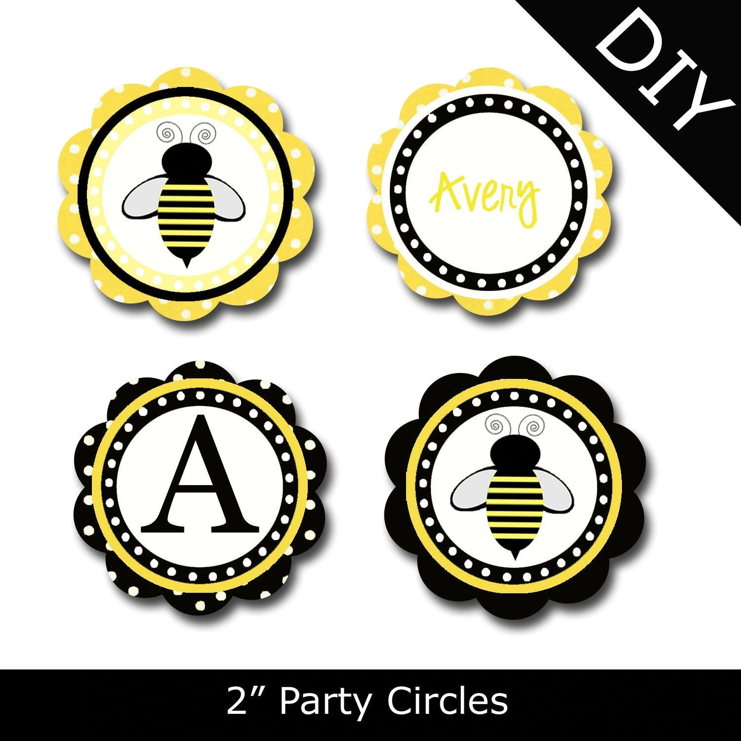 Items Similar To Bumble Bee Printable Party Circles By Oh