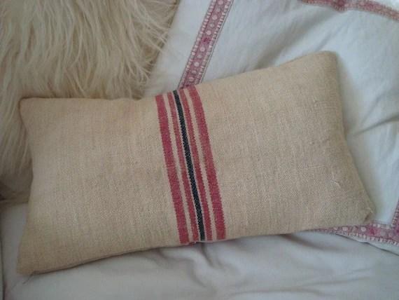 Grain Sack Throw Pillow Pink And Navy Stripe