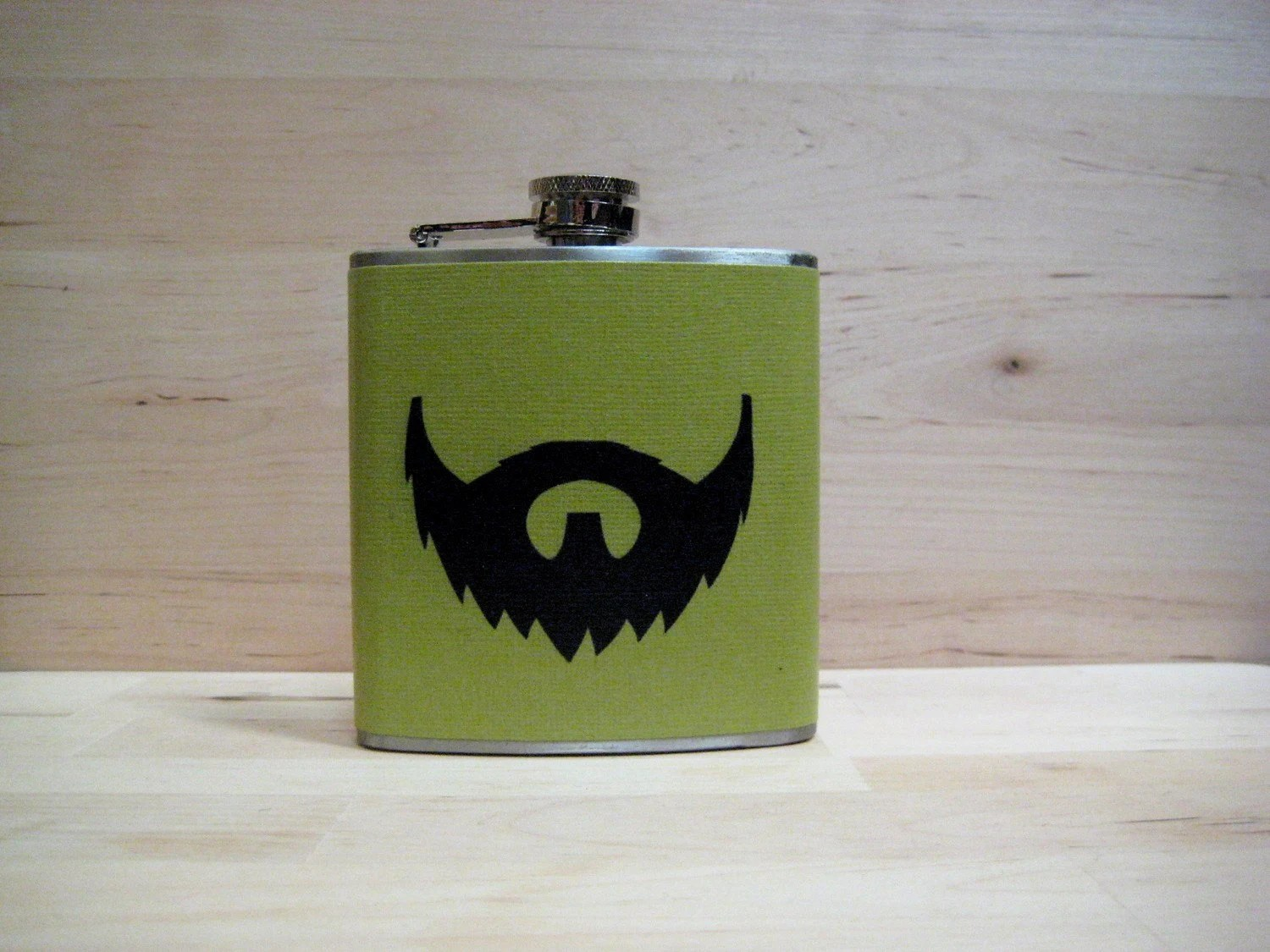 6 oz Stainless Steel - The Beard Love Flask (TM) - on Green