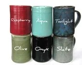 YOU CHOOSE COLOR-- Large Mug-- Hand crafted ceramic pottery--  16 oz coffee, cocoa, tea or iced drink cup. Dishwasher and microwave safe. - crutchfieldpottery