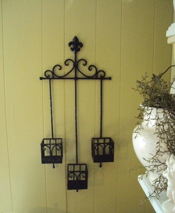 Vintage Wrought Iron Candle Holder Wall by primitivepincushion on Antique Wrought Iron Wall Candle Holders id=40740
