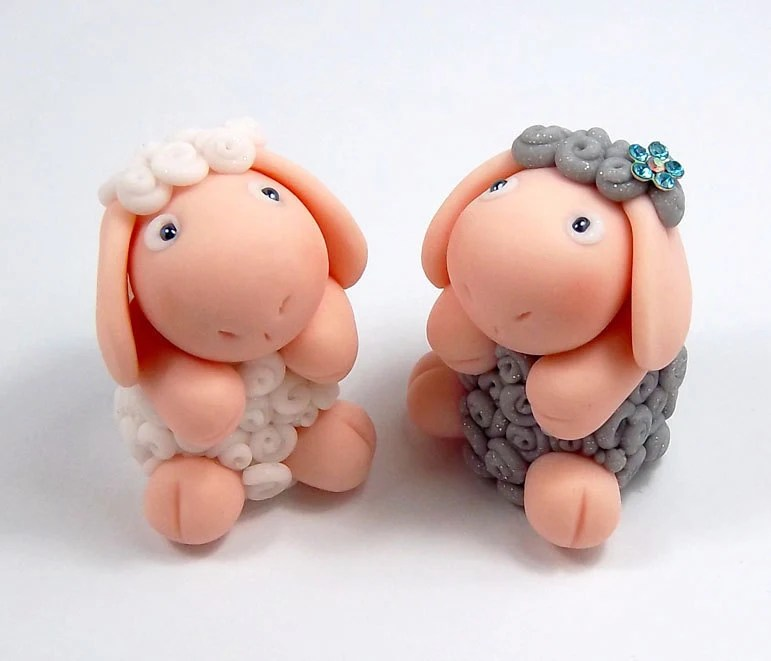 Polymer Clay Sheep Magnet Set Chloe And Flo Special