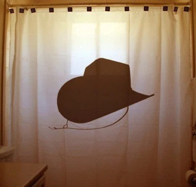 Cowgirl Cowboy Hat Shower Curtain Bathroom By CustomShowerCurtains