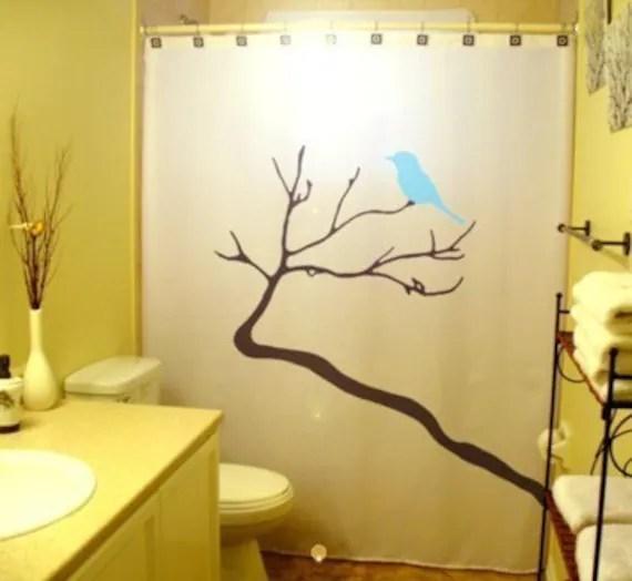 blue bird shower curtain tree bathroom decor kids bath branch