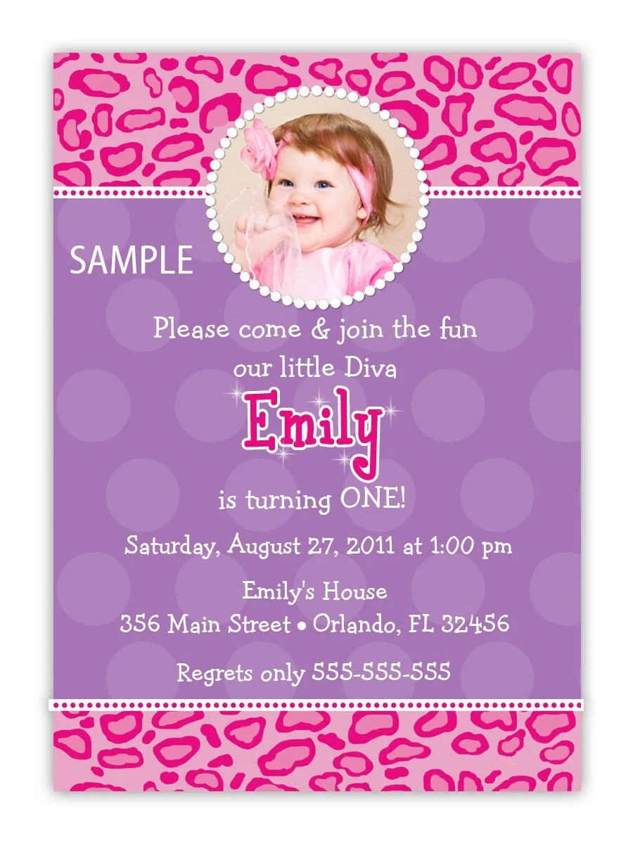 Pink And Purple Leopard Print Diva Birthday Invitation 2 different Designs (You Print) by CherishedTimes