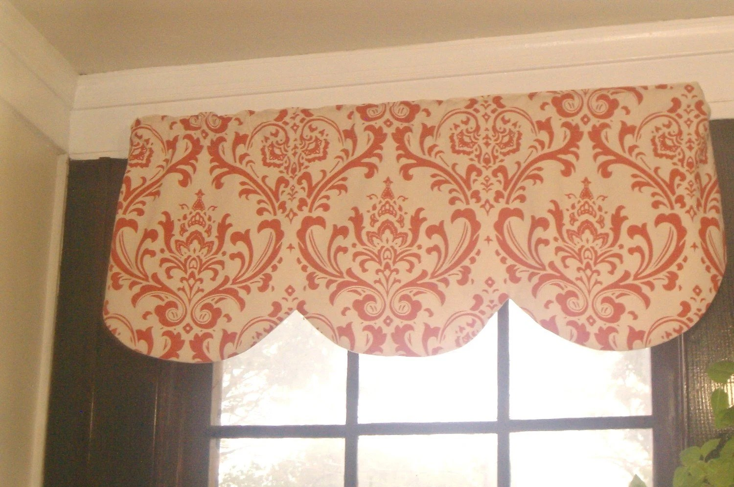Window Curtain Valance Damask Orange Cream