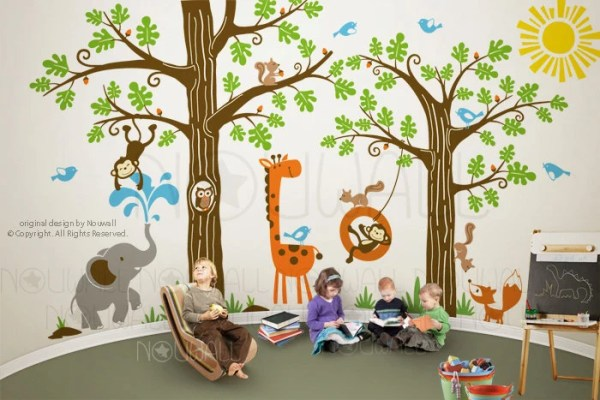 Kid Playroom Wall Decal Woodland Tree Animal monkey