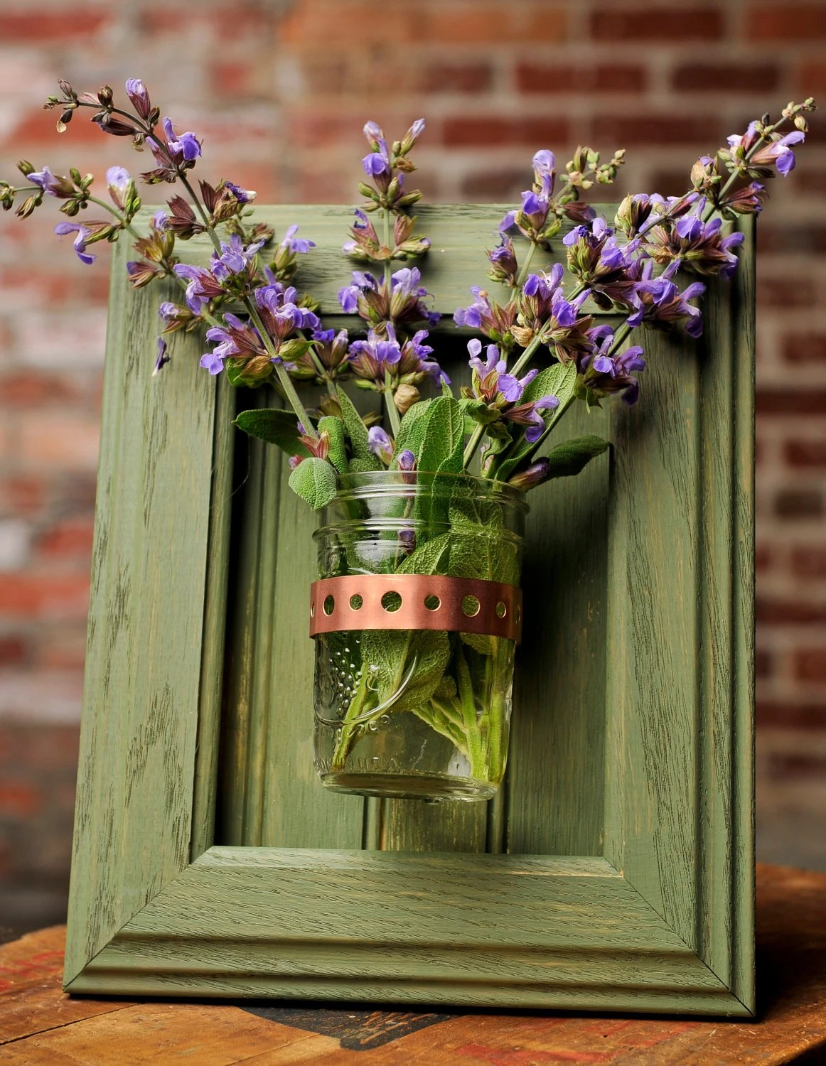 Framed Mason Jar Wall Sconce Moss Green Flower/ Plant/ Candle on Candle Wall Sconces With Flowers id=45077