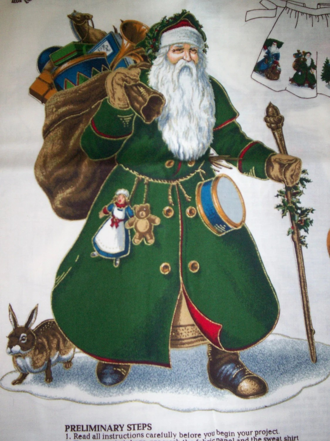 Father Christmas Old World Santa Fabric Applique Panel By