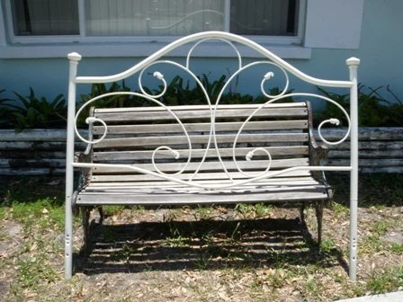 Reserved Vintage White Metal Shabby Headboard Queen Size