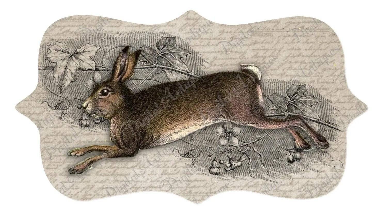 Vintage Rabbit Tags Printable Easter Digital By Digitalantiques
